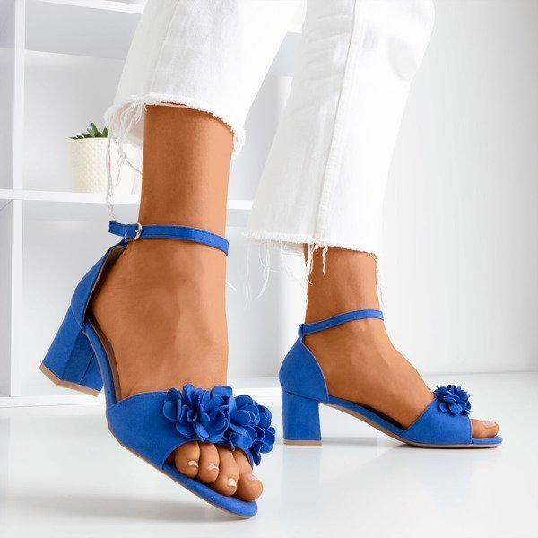 OUTLET Cobalt sandals on a higher post with Rewolina flowers