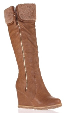 Aplesija brown women's wedge boots - shoes