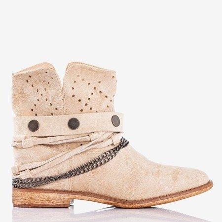 Beige cowboy boots on a wedge heel Salemi - Footwear
