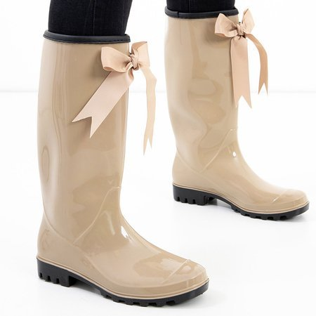 Beige long women's rain boots with a Ronay bow - Shoes