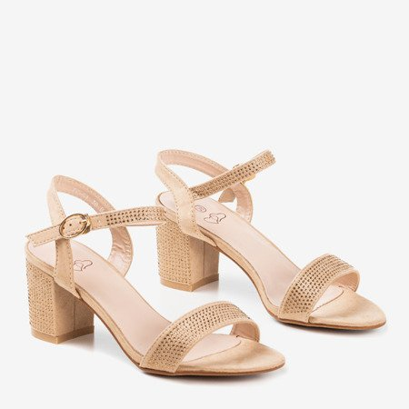 Beige sandals on a higher post decorated with Tina cubic zirconia - Footwear 1