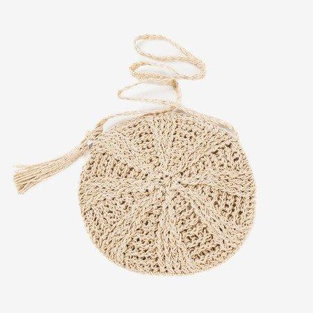 Beige straw women's handbag over the shoulder - Handbags 1