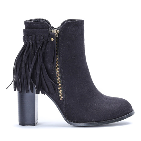 Black ankle boots style with tassels Fedina - Footwear