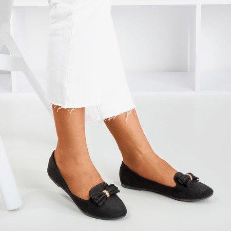 Black ballerinas with frallise decoration - Footwear