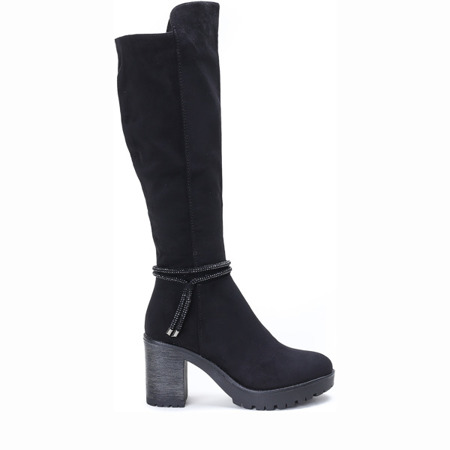 Black boots made of suede Potena - Footwear