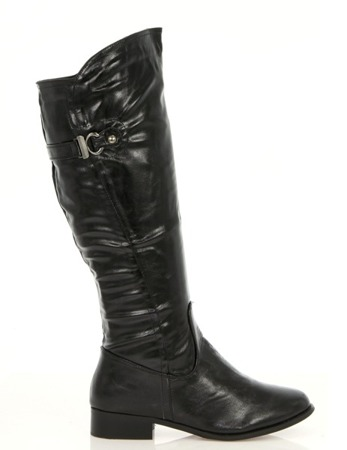 Black boots with a decorative buckle Kalin - Footwear