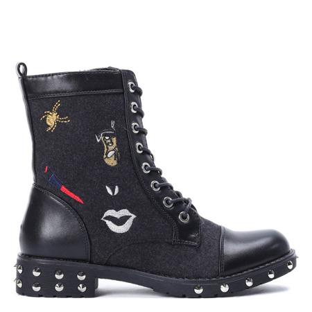 Black, felted traperki Adelan - Footwear