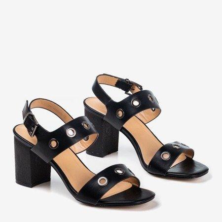 Black high heel sandals with Cangola cutouts - Footwear