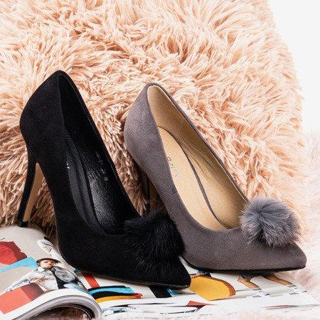 Black pumps on a stiletto heel with a pompom Amalia - Footwear