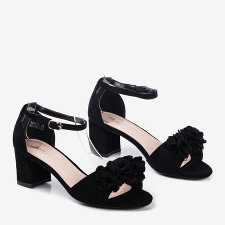 Black sandals on a higher post with flowers Rewolin - Footwear 1