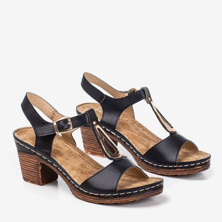Black sandals on the post by Assinel - Footwear