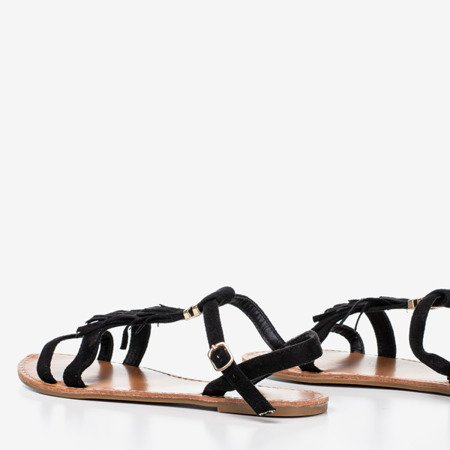 Black sandals with fringes Minikria - Footwear 1