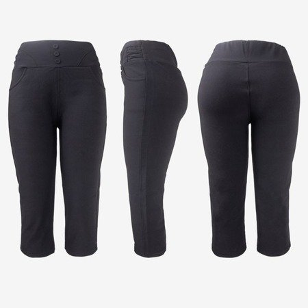 Black short leggings with buttons on the waist - Pants 1