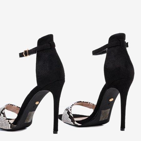 Black snake women's sandals on a high heel Gold Rush - Footwear 1