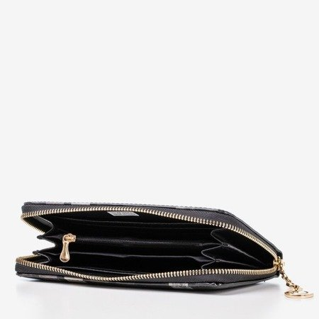 Black varnished women's wallet with print - Wallet 1