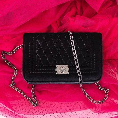 Black velor quilted shoulder bag - Handbags