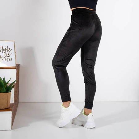 Black velor sweatpants - Trousers