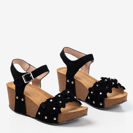 Black wedge sandals with decorative flowers Florestina - Footwear