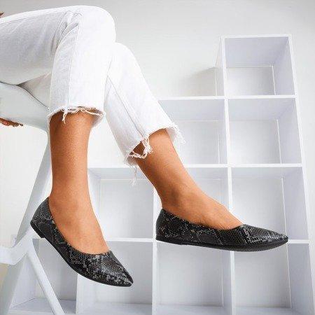 Black women's ballerinas a'la snake skin Lilla - Footwear 1