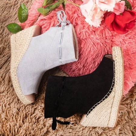 Black women's sandals on the wedge with the Unique One upper - Footwear 1
