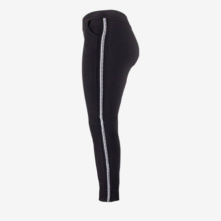 Black women's sweatpants with stripes - Pants 1