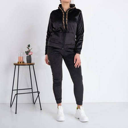 Black women's padded sweatshirt set with stripes - Clothing
