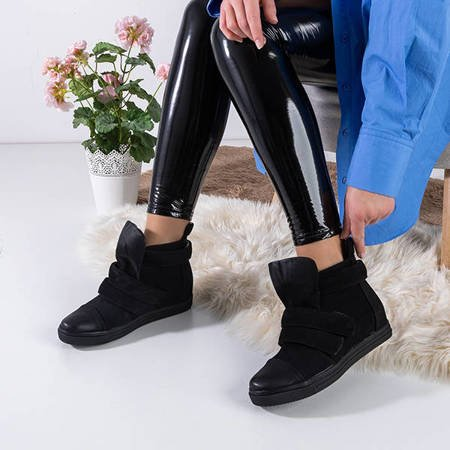 Black women's sneakers on an indoor wedge Agunda - Footwear