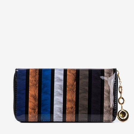 Blue lacquered women's wallet with print - Wallet