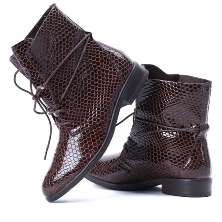 Brown ankle boots with snakeskin texture Sniki - Footwear
