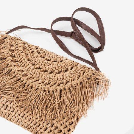 Brown straw women's shoulder bag - Handbags 1