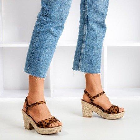 Brown women's sandals with leopard sugar Honey - Footwear 1
