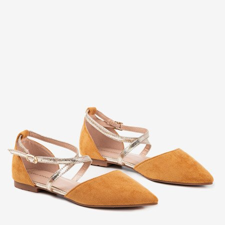 Brown women's flat-heeled ballerinas from Vosia - Footwear