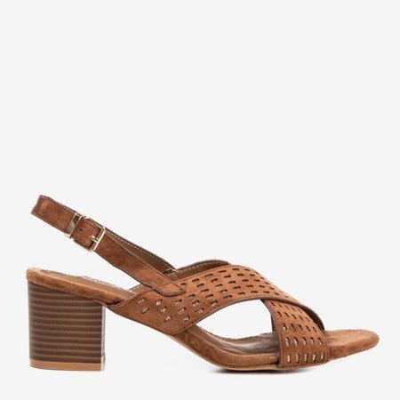 Brown women's sandals on a higher post with glitter inserts Galia - Footwear 1