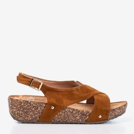 Brown women's sandals on a thick Strolla platform - Footwear