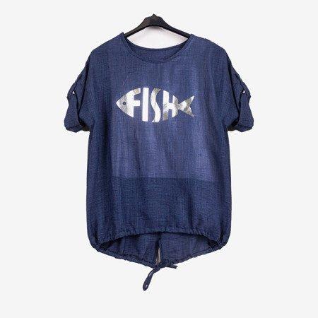 Dark blue women's tunic with print - Blouses 1