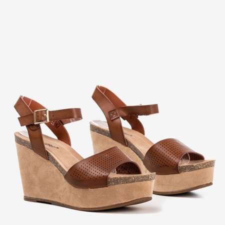 Dark brown women's sandals on the wedge Autonoe - Footwear 1