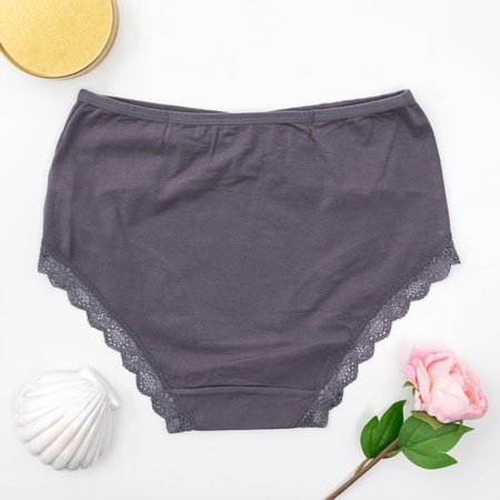 Dark gray women's panties with lace PLUS SIZE - Underwear