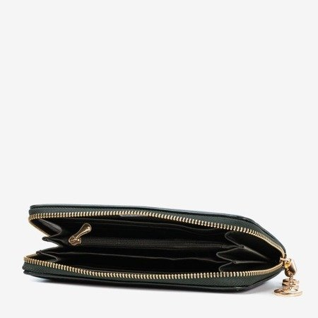 Dark green women's wallet with a shiny finish - Wallet