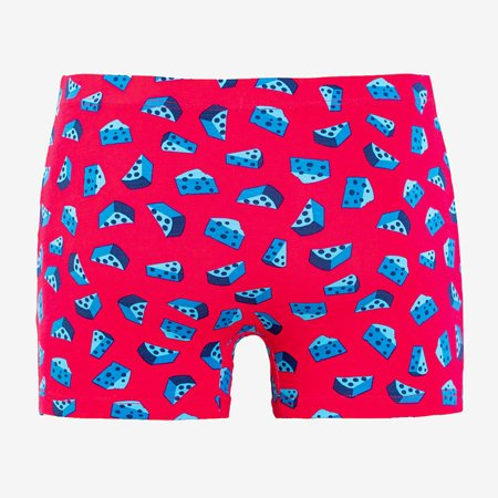 Fuchsia men's boxer shorts with a colorful print - Underwear