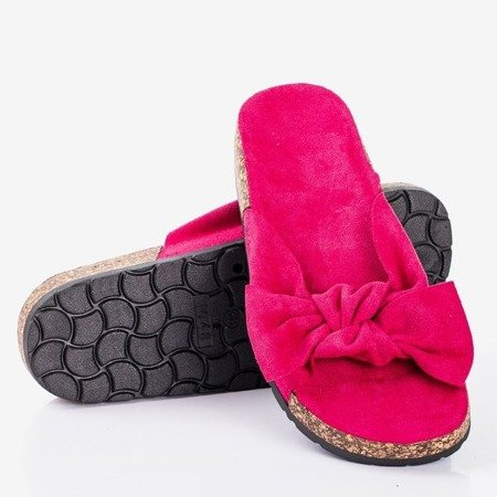 Fuchsia women's slippers with a bow Sun and Fun - Footwear 1