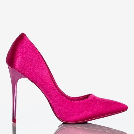 Gold Star Fuchsia Satin Stilettos - Shoes 1