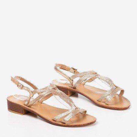 Gold women's low-heeled sandals Treunia - Footwear