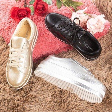 Gold women's sneakers on the Ridicca platform - Footwear 1