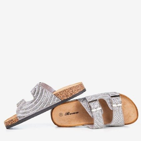 Gray slippers with cubic zirconias Summer Star - Footwear