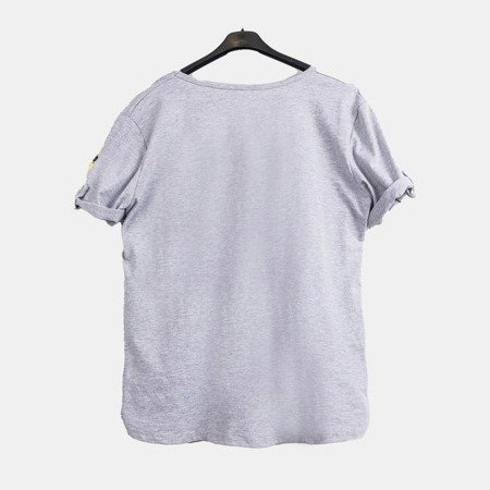 Gray women's tunic with flowers - Blouses 1