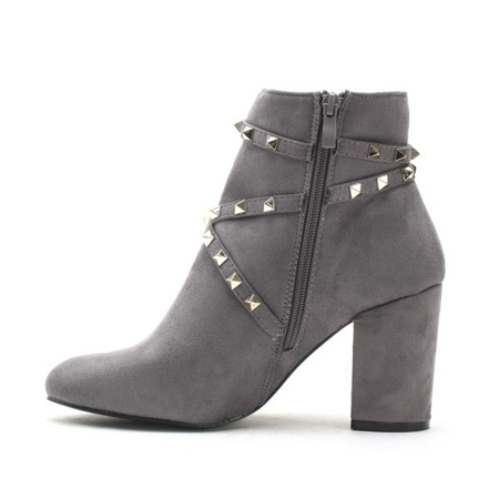 Gray women's boots on the post Olmedia - Footwear