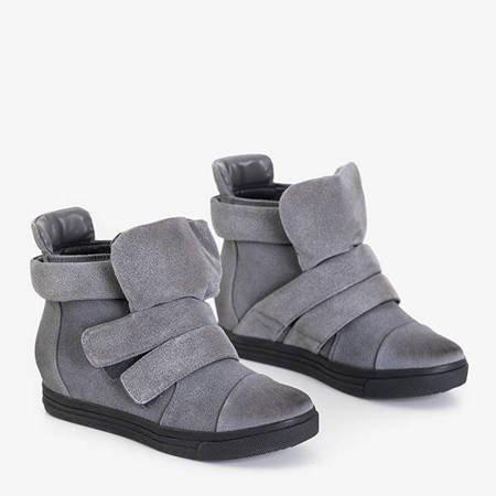 Gray women's sneakers on an indoor wedge Agunda - Footwear