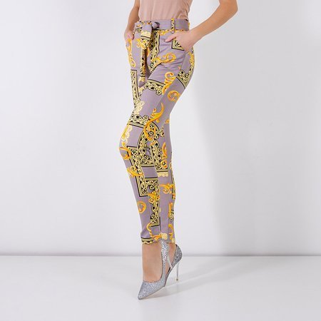 Gray women's trousers with print - Clothing