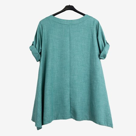 Green and blue women's tunic with inscriptions - Blouses 1