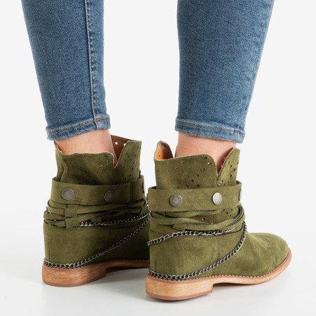 Green cowboy boots on an indoor wedge Salemi - Footwear 1